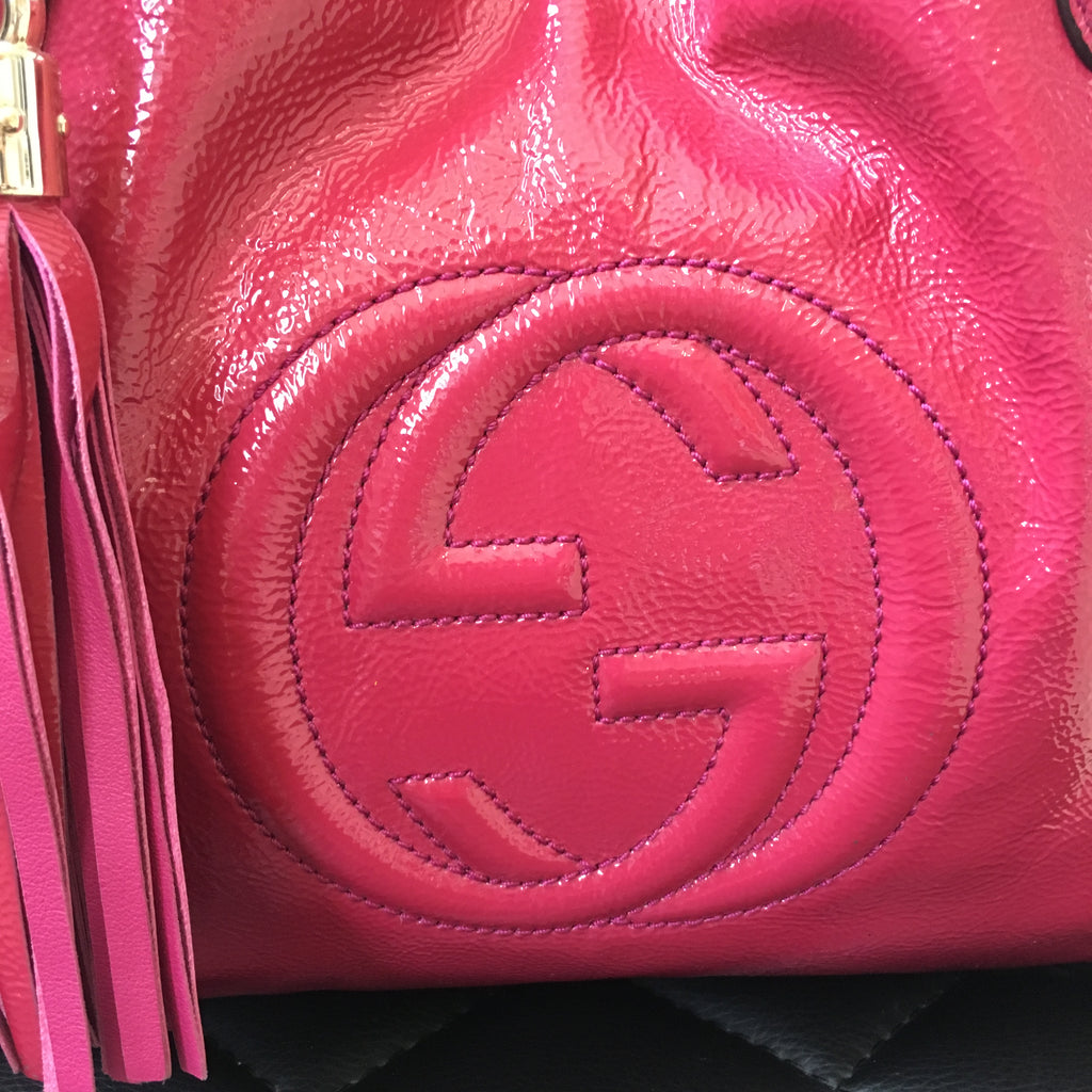 1dfb40e30c16 Gucci Fuchsia Pink Small Soho Patent Crossbody Bag   Forever Red Soles