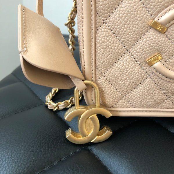 Chanel Caviar Quilted Small CC Filigree Vanity Case Bag