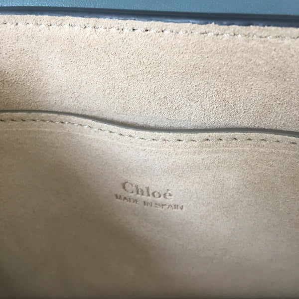 Chloé Blue Leather & Suede Small Faye Crossbody Bag
