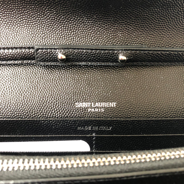 Saint Laurent Black Textured Matelasse Leather WOC