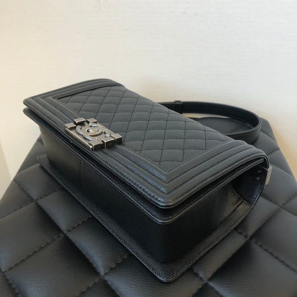 Chanel Black Caviar Old Medium Boy Bag