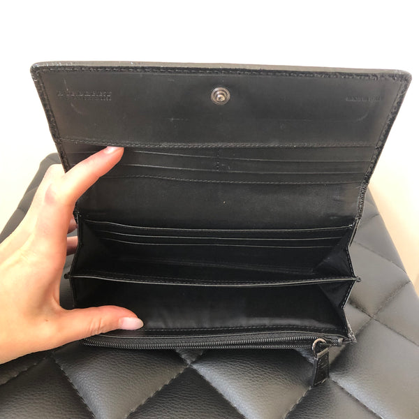 Burberry Black/Grey Patent and Nylon Wallet
