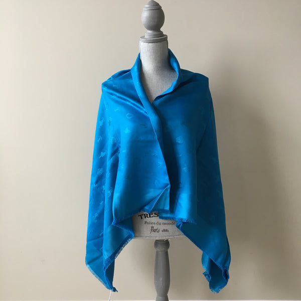 Dior Blue Carre So Dior Silk/Wool Shawl