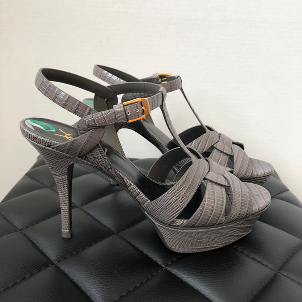 Saint Laurent Earth (Grey) Lizard Embossed Tribute Sandals Size 38