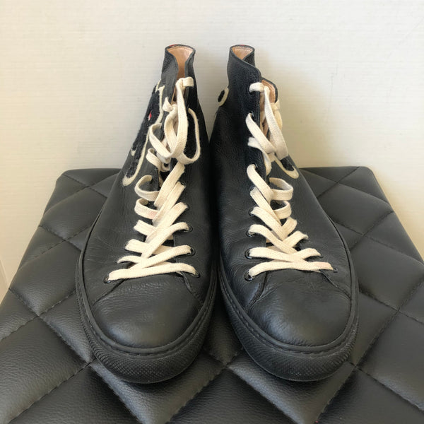 Gucci Men's Black Leather Panther High-top Sneakers Size 12.5G