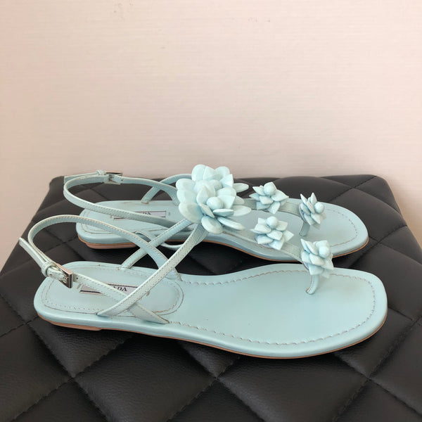 Prada Light Blue Embellished Sandals Size 38
