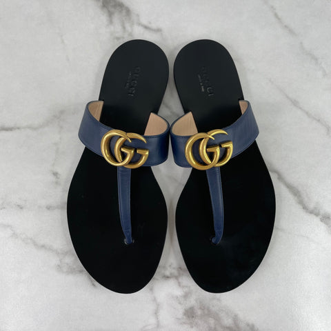 GUCCI Dark Blue Leather Thong Sandals With Double G Size 37