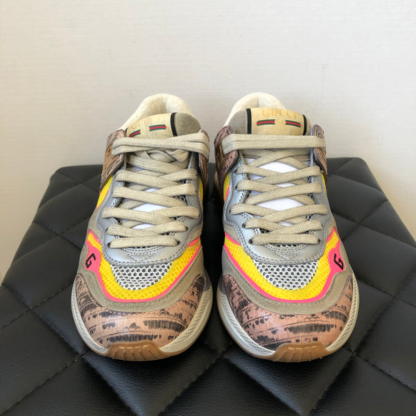 GUCCI Ultrapace Snake-effect Leather, Mesh And Distressed Suede Sneakers Size 36.5