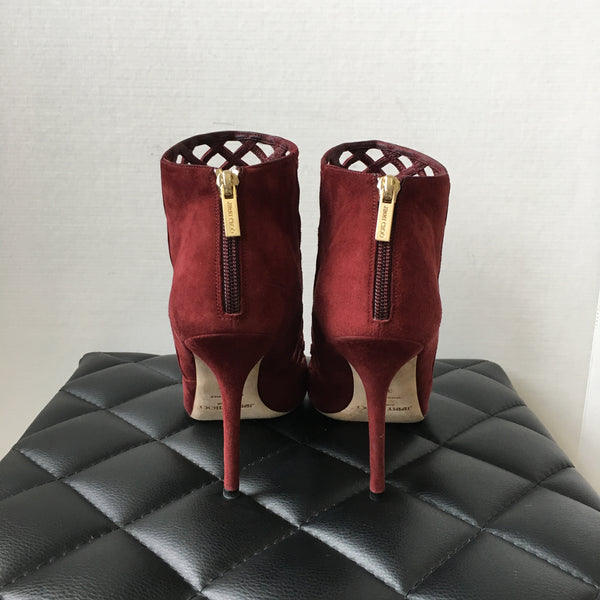 Jimmy Choo Drift Claret Burgundy Suede Open Toe Cage Booties Size 38.5