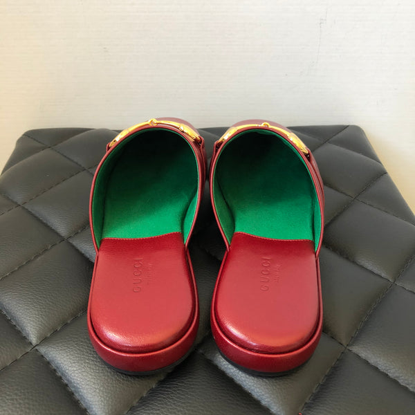 GUCCI Pericle Red Leather Mules Size 38.5
