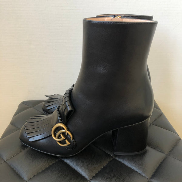 GUCCI Black Marmont fringed logo-embellished leather ankle boots Size 38