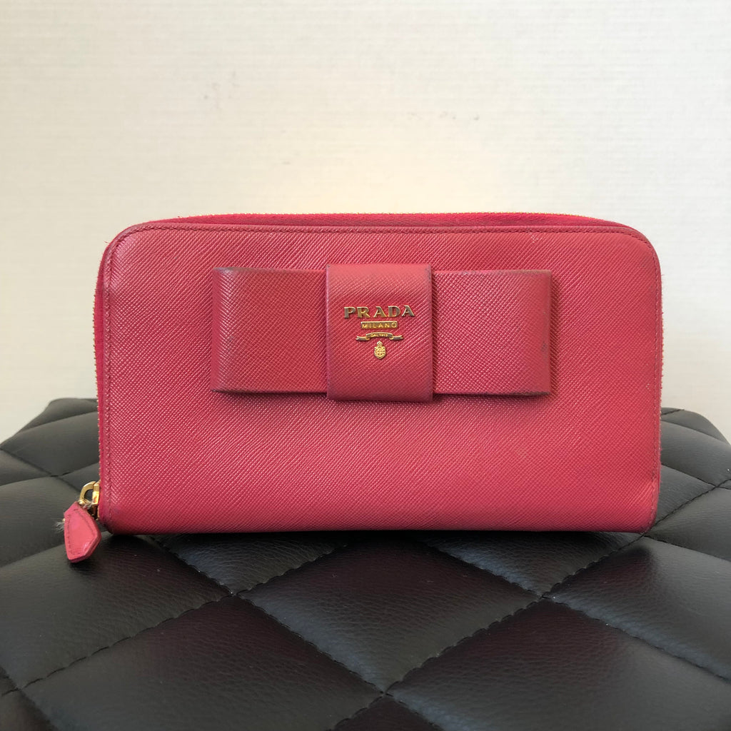 5933d43be35a Prada Saffiano Fiocco Peonia (Pink) Zip Around Wallet | Forever Red Soles