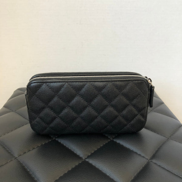 Chanel Timeless Iridescent Black Caviar Double Zip WOC