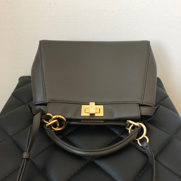 Fendi Coal Grey Peekaboo Mini Crossbody Bag