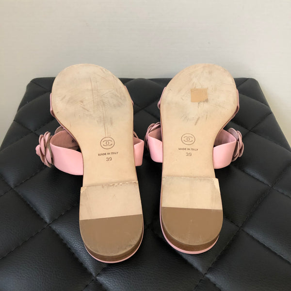 Chanel Pink Camellia Sandals Size 39