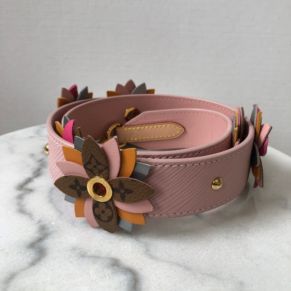 LOUIS VUITTON Epi Reverse Monogram Flower Bandouliere Shoulder Strap Rose Ballerine