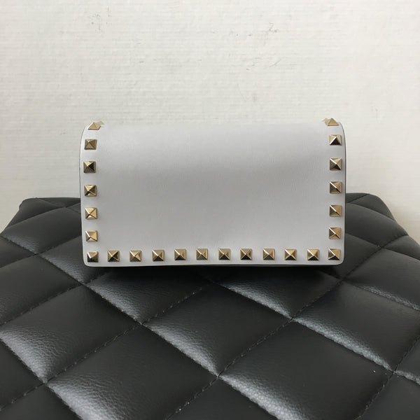 Valentino Pastel Grey Rockstud Chain Crossbody Bag