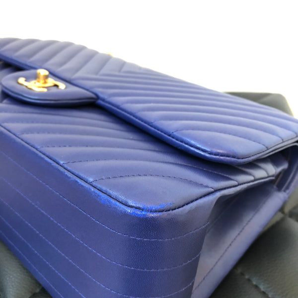 Chanel Blue Lambskin Chevron Jumbo Double Flap Bag