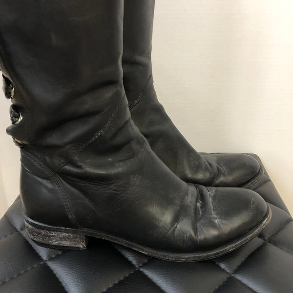 Valentino Black Tie Up Bow Boots Size 39.5