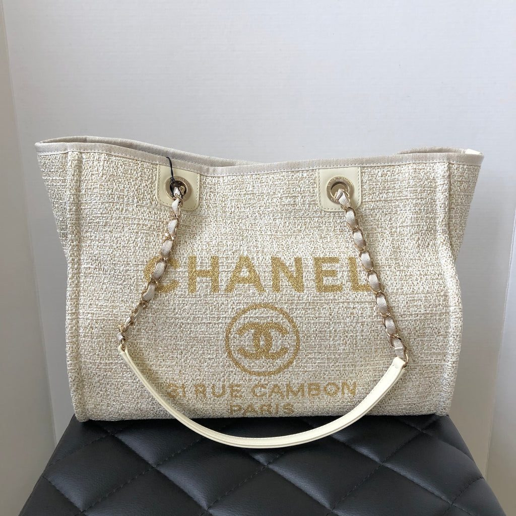 b5c395a9828fde Chanel Beige/Gold Tweed Deauville Small Tote | Forever Red Soles