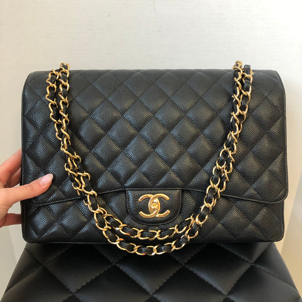 Chanel Black Caviar Double Flap GHW Maxi Bag