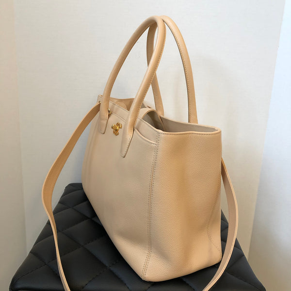 Chanel Grained Calfskin Cerf Executive Shopper Tote Beige Clair