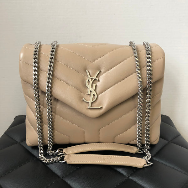 Saint Laurent Dark Beige Small Loulou Matelassé Leather Crossbody/Shoulder Bag