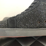 Christian Louboutin Men's Black Louis Strass Embellished/Suede High-top Sneakers Size 45