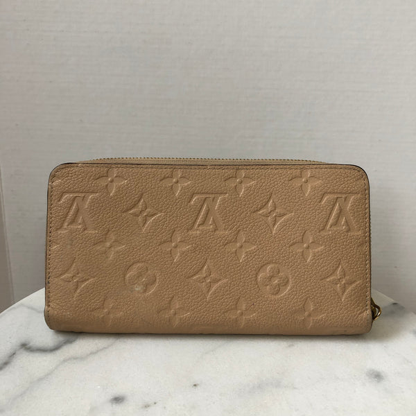 Louis Vuitton Beige Monogram Empreinte Leather Zippy Wallet
