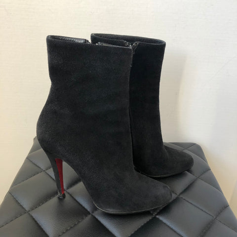 Christian Louboutin Black Suede Ankle Booties Size 36