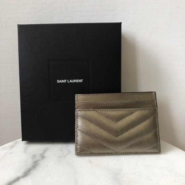 SAINT LAURENT YSL Monogram Matelassé Metallic Leather Card Holder