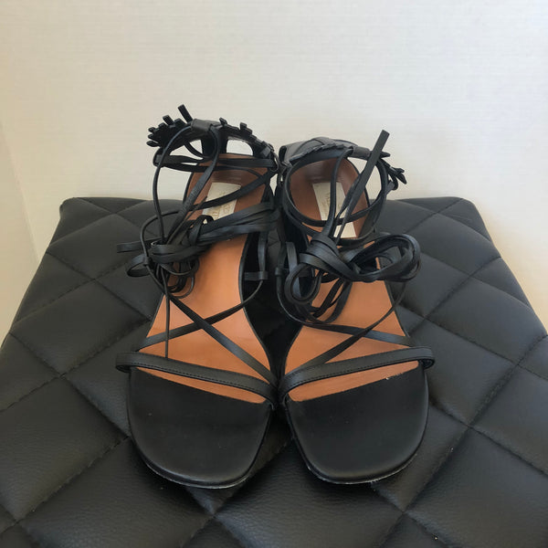 Valentino Black Tribal Mask Lace-Up Sandals Size 38.5