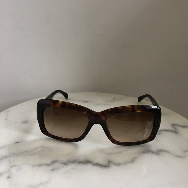 Chanel Tortoise Brown Camellia Flower Square Sunglasses