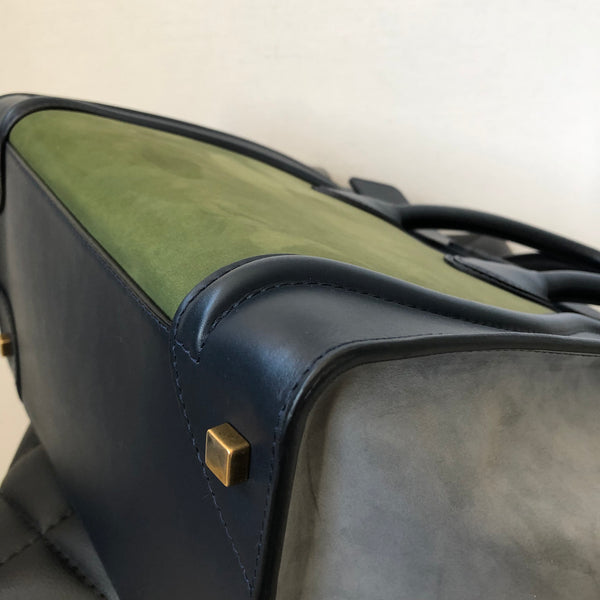 Celine Tri-Color (Navy, Grey, Green) Smooth Leather/Suede Mini Luggage
