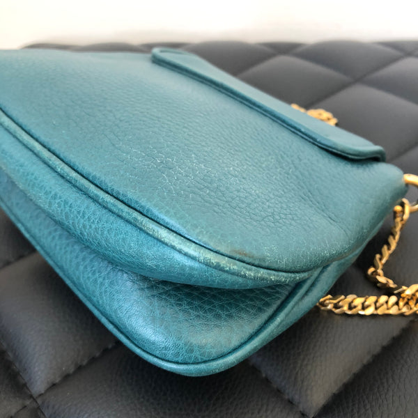 GUCCI Teal Pebbled Leather '1973' Mini Crossbody Bag