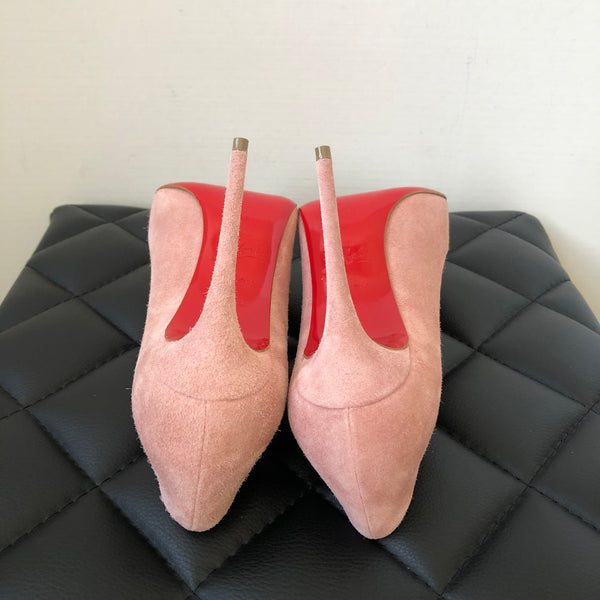 Christian Louboutin Pigalle Follies 100 Suede Ronsard (Light Pink) Pumps Size 36.5
