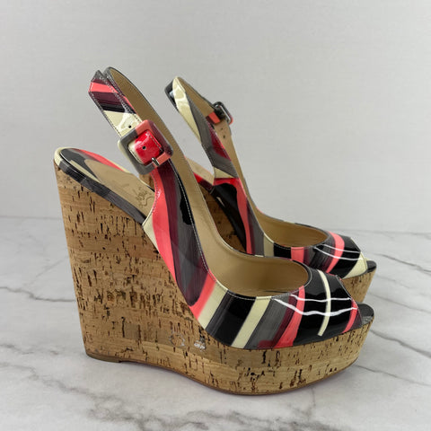 Christian Louboutin Multicolor Patent Une Plume Cork Slingback Wedges Size 39
