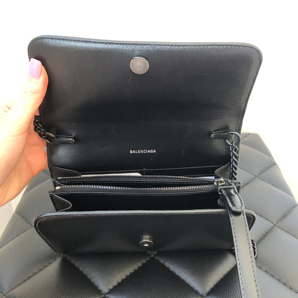 BALENCIAGA B. Black Leather Wallet Chain Crossbody Bag/Wristlet