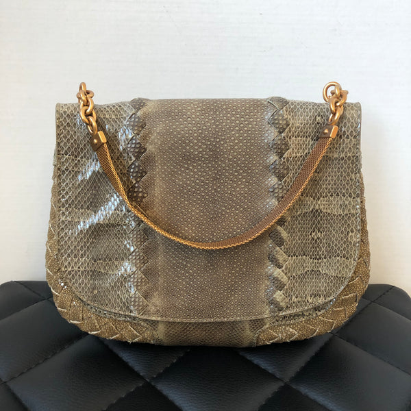 BOTTEGA VENETA Natural Bronze Ayers Karung Stingray HandBag