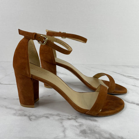Stuart Weitzman Saddle Brown Suede NEARLYNUDE Sandals Size 7.5