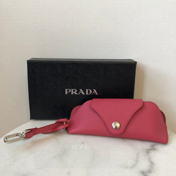 Prada Pink Saffiano Leather Glasses Case