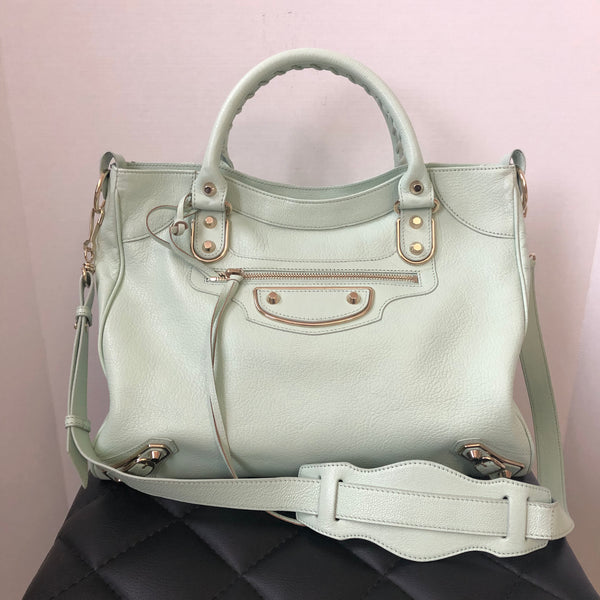 Balenciaga Mint Green Metallic Edge Chevre Graine Velo Crossbody Bag