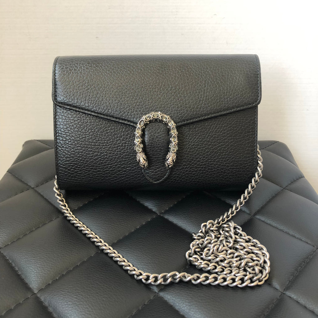 fcc39c1b7f65 Gucci Dionysus Black Leather Mini Chain Crossbody Bag | Forever Red Soles