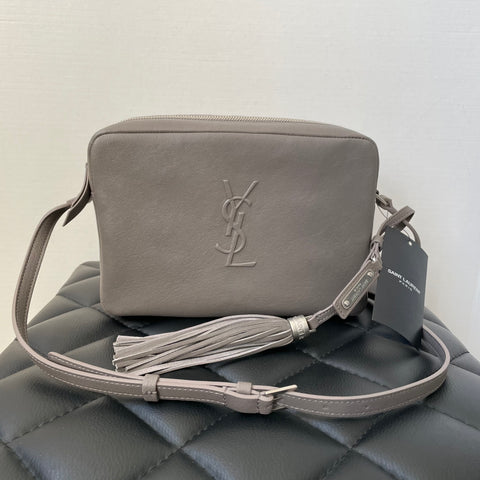 Saint Laurent Fog Grey Lou Camera Tassel Crossbody Bag