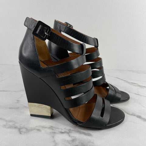 Givenchy Black Wedge Sandals 8
