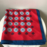 Tory Burch Red/Blue Silk Square Twilly/Scarf