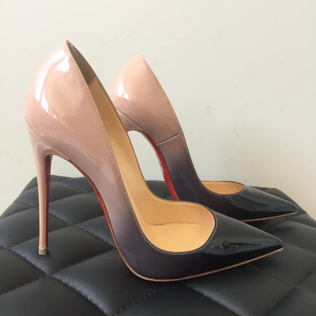 01ea78e283 Christian Louboutin Patent Degrade Black/Nude So Kate Pumps Size 37.5 |  Forever Red Soles