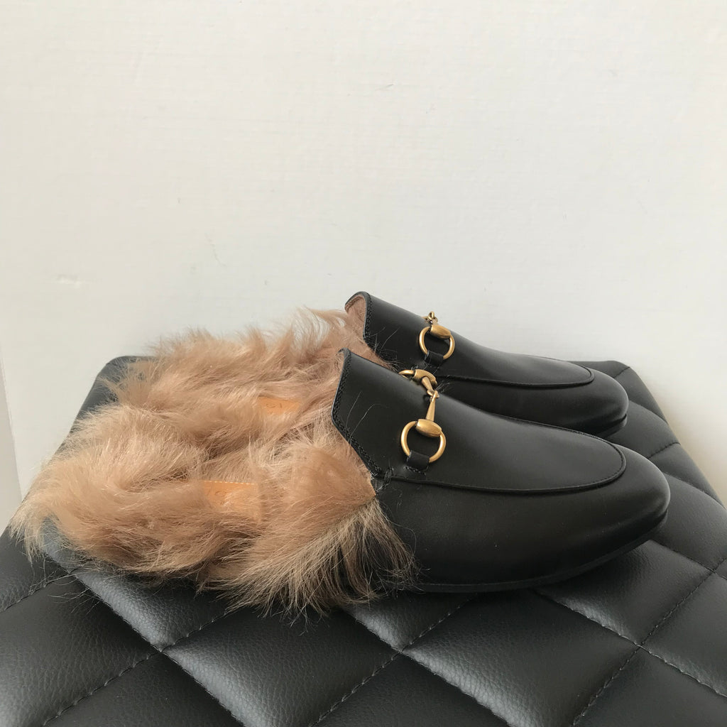 2ff60827ee0 Gucci Black Fur Princetown Loafers Size 38