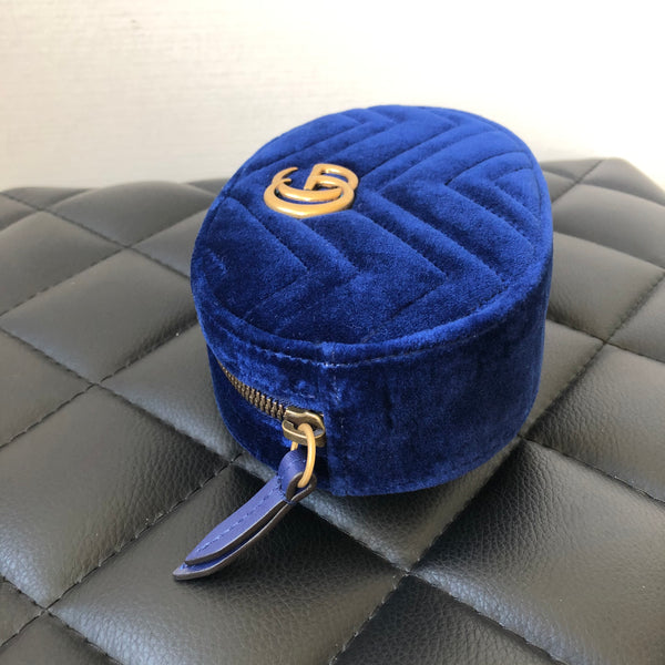 Gucci Blue GG Marmont Velvet belt bag