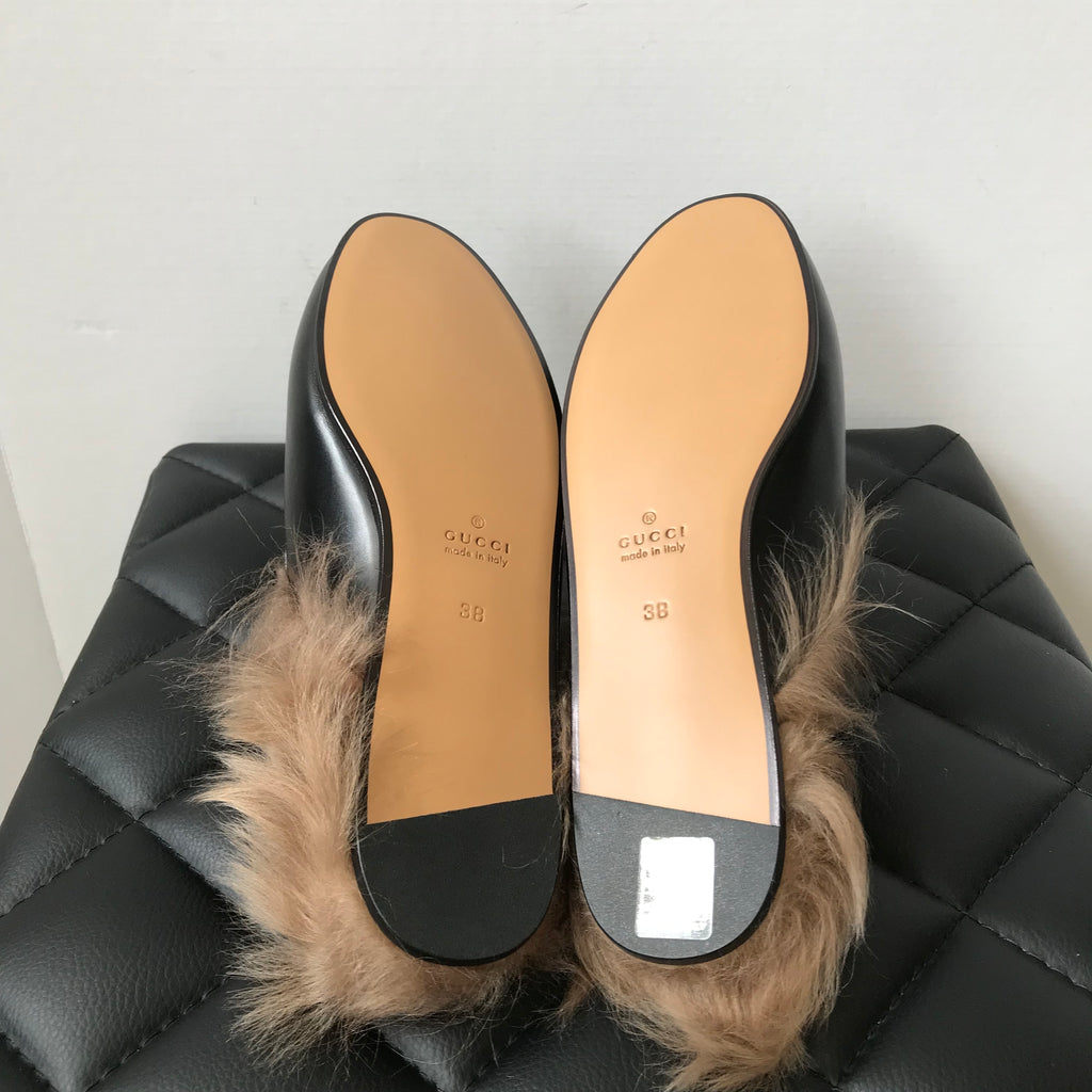 ded68ad774a ... Gucci Black Fur Princetown Loafers Size 38 ...